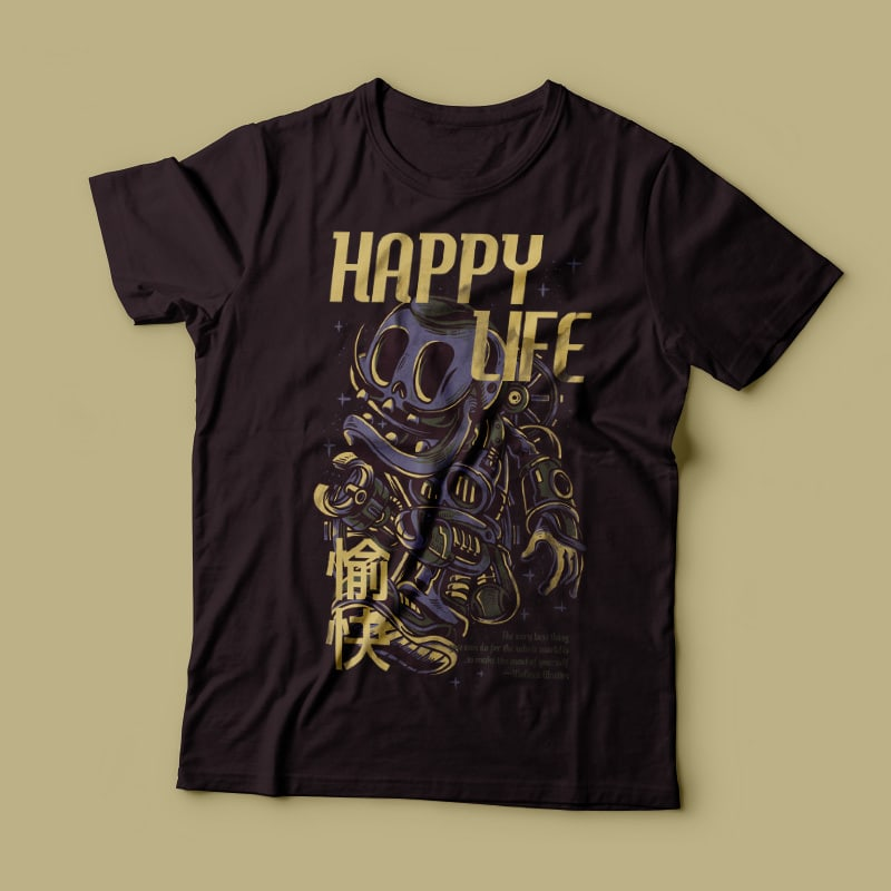 Happy Life Vector T-shirt Design tshirt-factory.com
