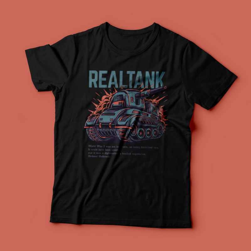Real Tank T-Shirt Design tshirt designs for merch by amazon