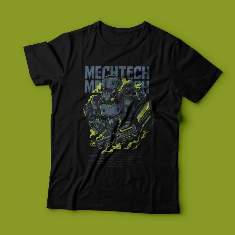 Mech Tech T-Shirt Design vector shirt designs