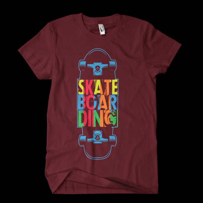 Vector t-shirt SKATE BOARDING ONE t shirt designs for print on demand