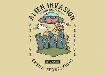 Alien Attack Vector t-shirt design