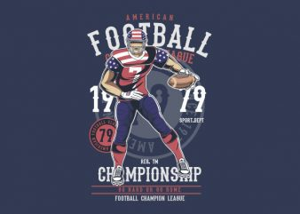 American Football Player Graphic t-shirt design