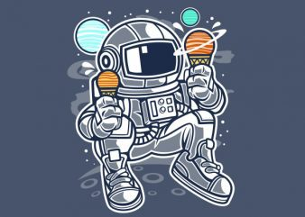Astronaut Ice Cream Vector t-shirt design