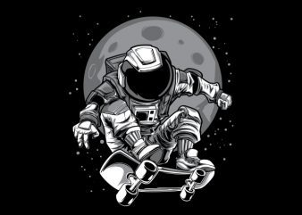 Astronaut Skateboard T-Shirt Design