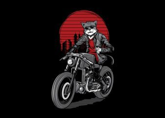 Cat Rider T-Shirt Design