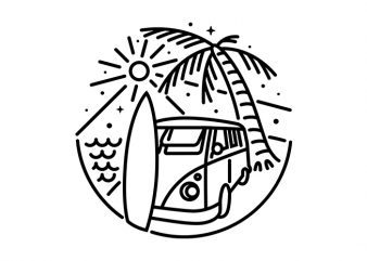 Van, Surf, and Beach vector t-shirt design for commercial use