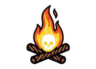Skullfire tshirt design vector