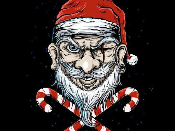 Badass Santa t shirt design for purchase
