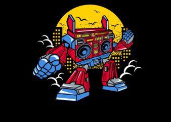 Boombox Robot Vector t-shirt design
