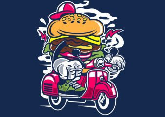Burger Scooter Graphic t-shirt design