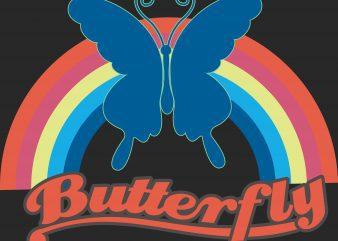 Butterfly tshirt design vector