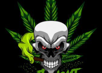 Cannabis Skull Marijuana T-Shirt design template