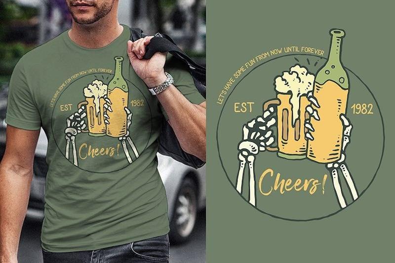 Cheers Vector t-shirt design t shirt designs for merch teespring and printful