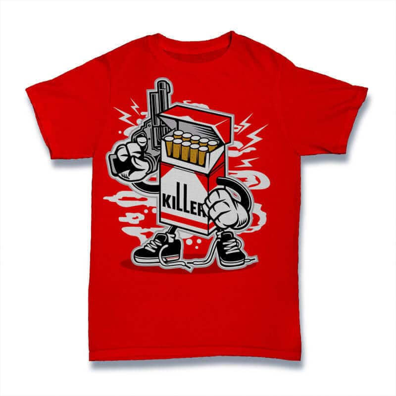 Cigarette Killer Graphic t-shirt design tshirt design for merch by amazon