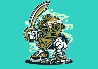 Diver Graphic t-shirt design