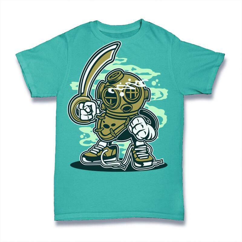 Diver Graphic t-shirt design t shirt designs for sale