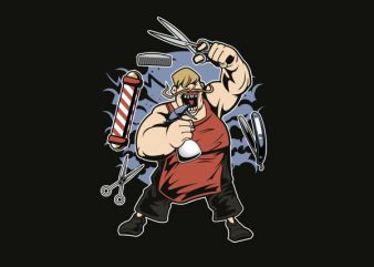 Fat Barber Vector t-shirt design
