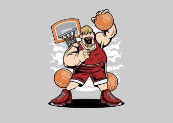 Fat Basketball Player Graphic t-shirt design