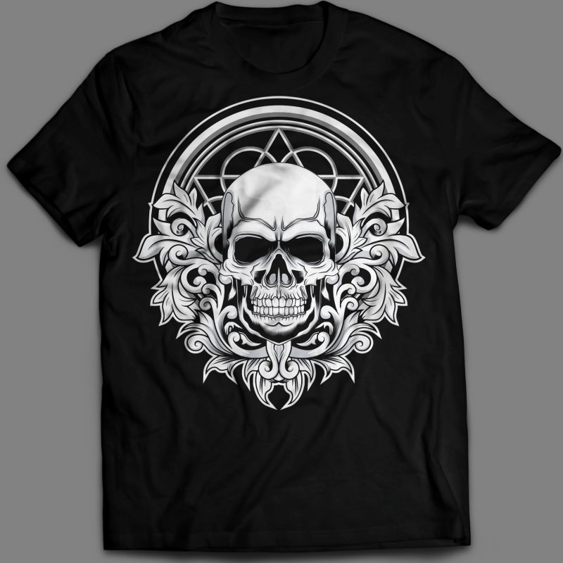 Floral Skull t-shirt design vector illustration tshirt design for merch by amazon