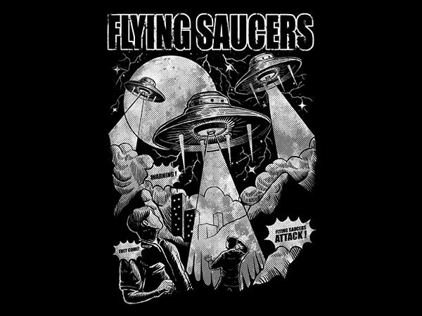 Flying Saucers Vector t-shirt design