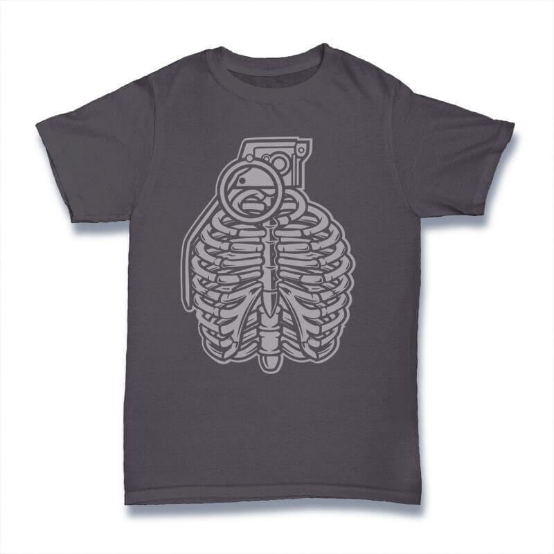 Grenade Ribcage Graphic t-shirt design tshirt design for merch by amazon