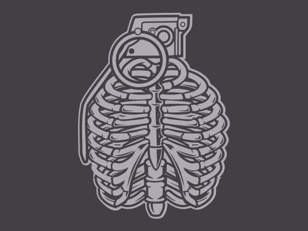 Grenade Ribcage Graphic t-shirt design