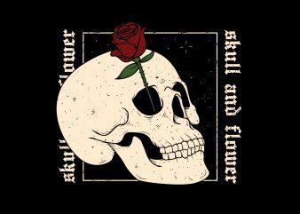 skull flower t shirt template vector