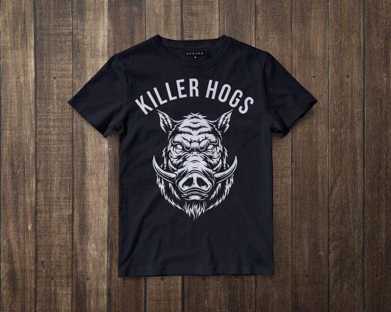 HOGS HEAD tshirt design tshirt design for merch by amazon