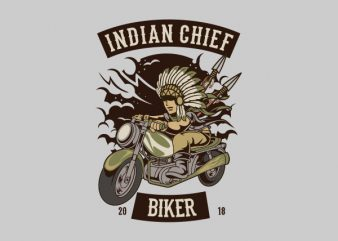 Indian Chief Biker Club Vector t-shirt design