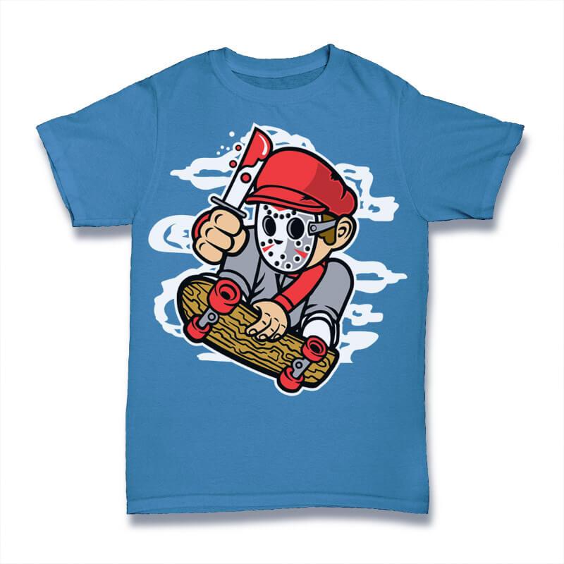 Killer Skater Graphic t-shirt design vector shirt designs