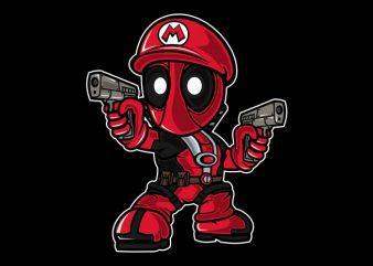 Mario Deadpool graphic t-shirt design