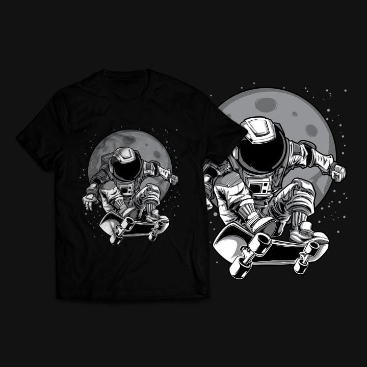 Astronaut Skateboard T-Shirt Design t shirt design png