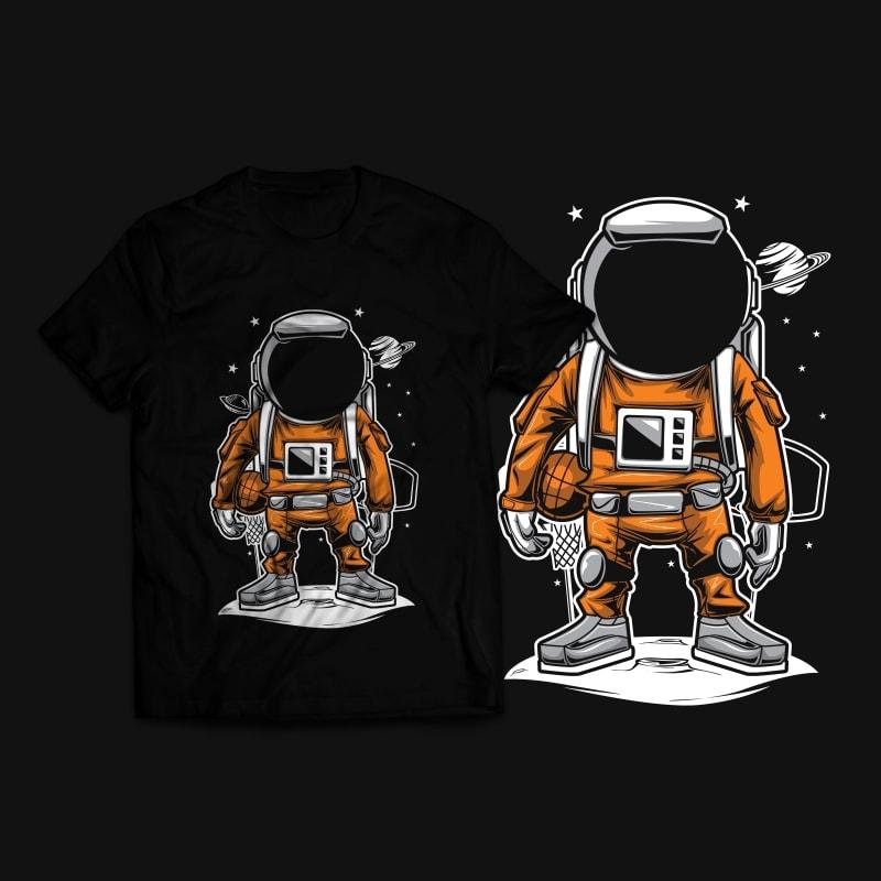 Astronaut Basket Ball T-Shirt Design vector t shirt design