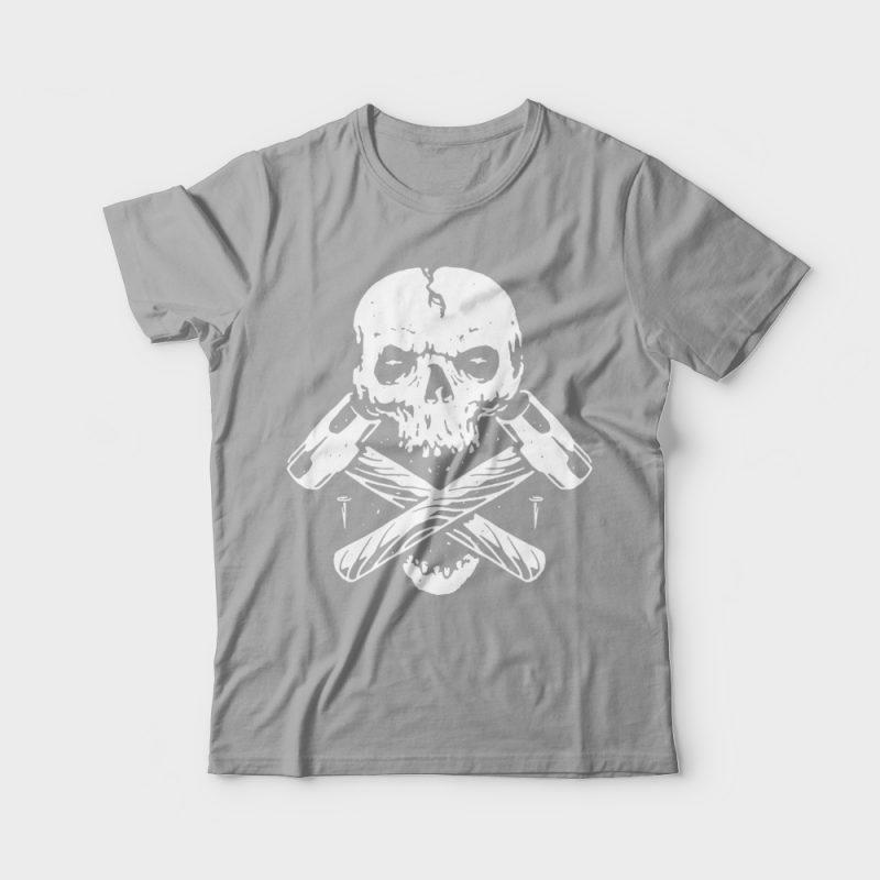 Skull Hammer tshirt design for merch by amazon
