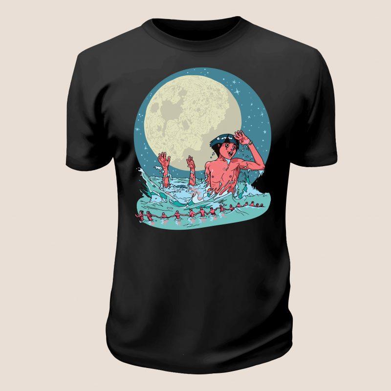 Moon vector t-shirt design t shirt designs for merch teespring and printful