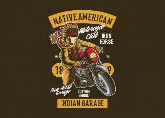 Native American Biker Vector t-shirt design