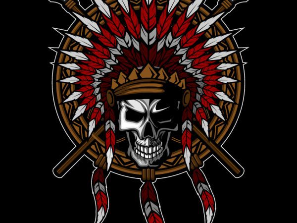 Native American Indian Feather headdress with Human Skull T-shirt Template Design vector illustration