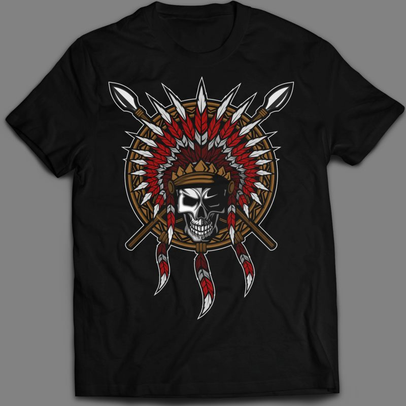 Native American Indian Feather headdress with Human Skull T-shirt Template Design vector illustration tshirt-factory.com