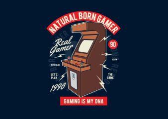 Natural Born Gamer Graphic t-shirt design