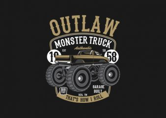 Outlaw Monster Truck tshirt design