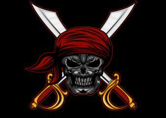 Pirate skull head T-shirt template vector illustration