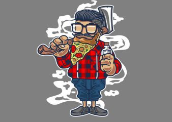 Pizza Beard Vector t-shirt design