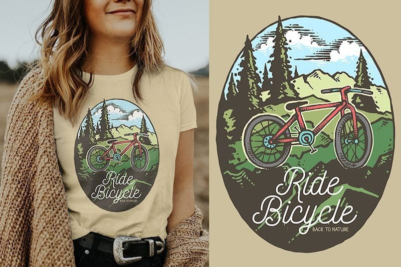 Ride Bicycle Vector t-shirt design t shirt design graphic