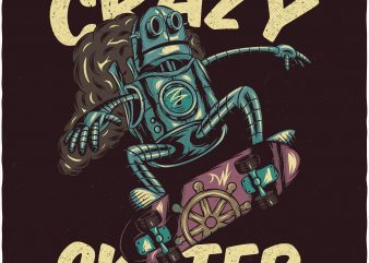 Crazy skater. Vector T-Shirt Design