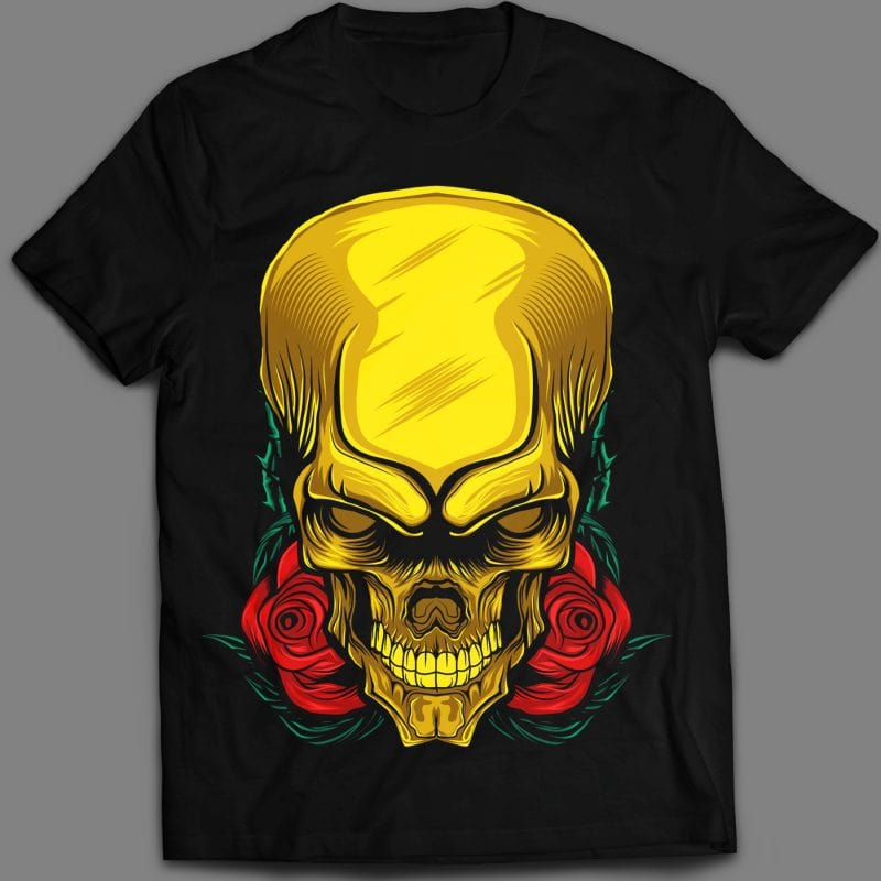Rose gold skull head T-shirt template design vector illustration art buy t shirt designs artwork