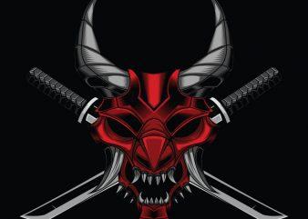 Samurai mask and Katana T-shirt design template