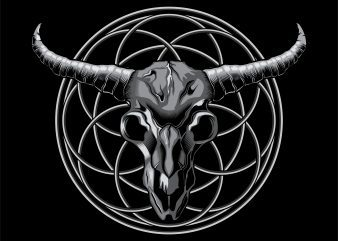 Skull Bull Head artistic on circle ornament t-shirt design vector illustration
