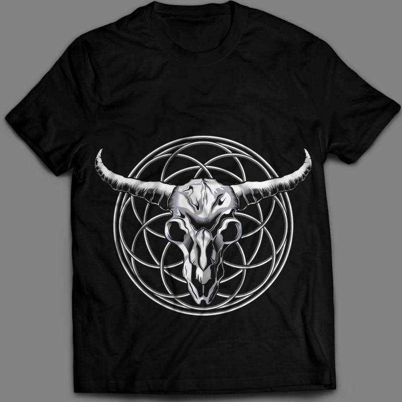 Skull Bull Head artistic on circle ornament t-shirt design vector illustration t shirt designs for printful
