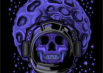 Skull face head Astronaut helmet T-shirt design template vector illustration