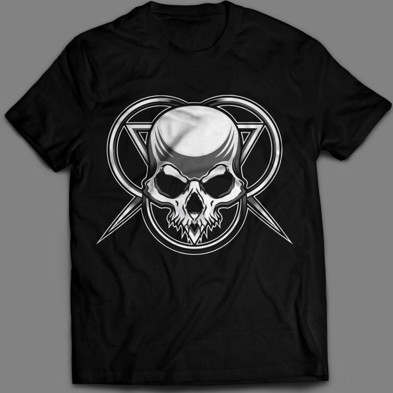 Skull head T-shirt design template vector illustration vector t shirt design